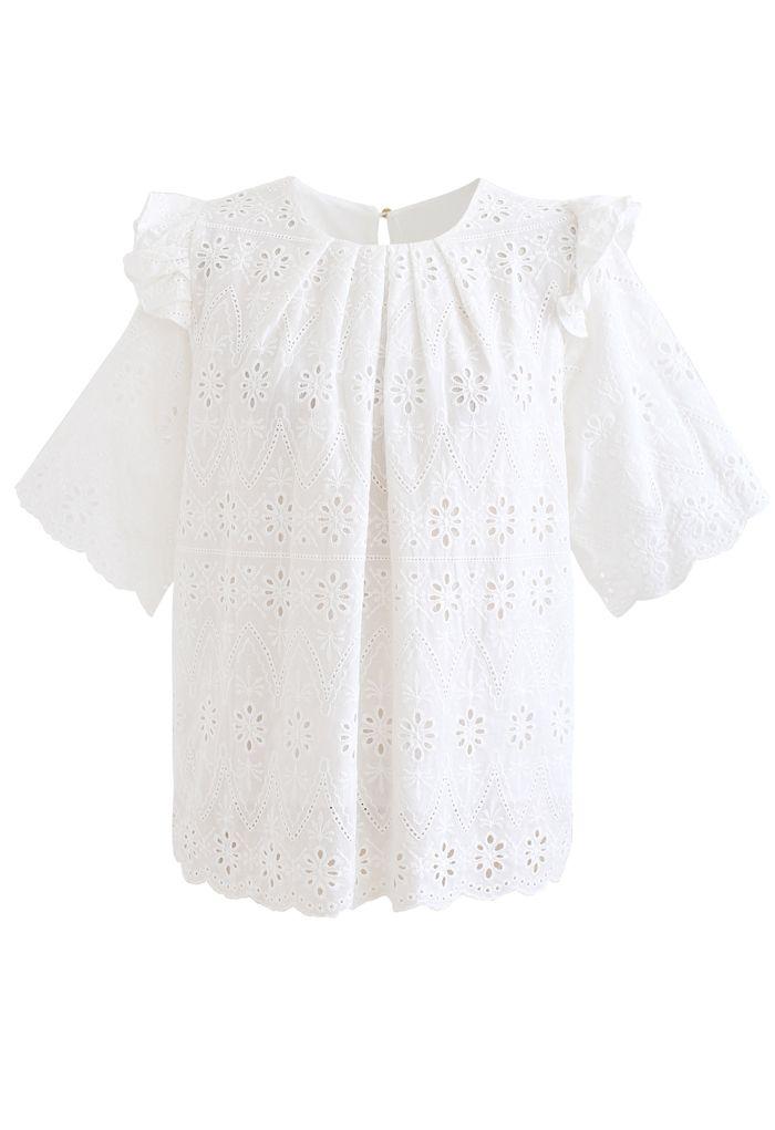 アイレット刺繍フリルブラウス ホワイト