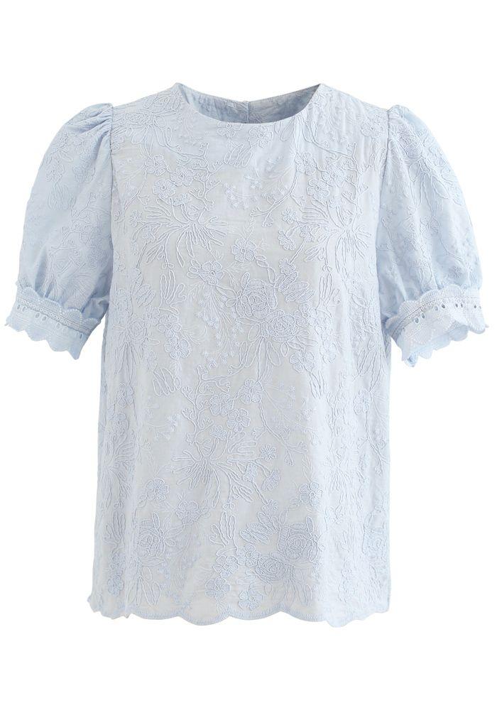 パフスリレース刺繍ブラウス ブルー