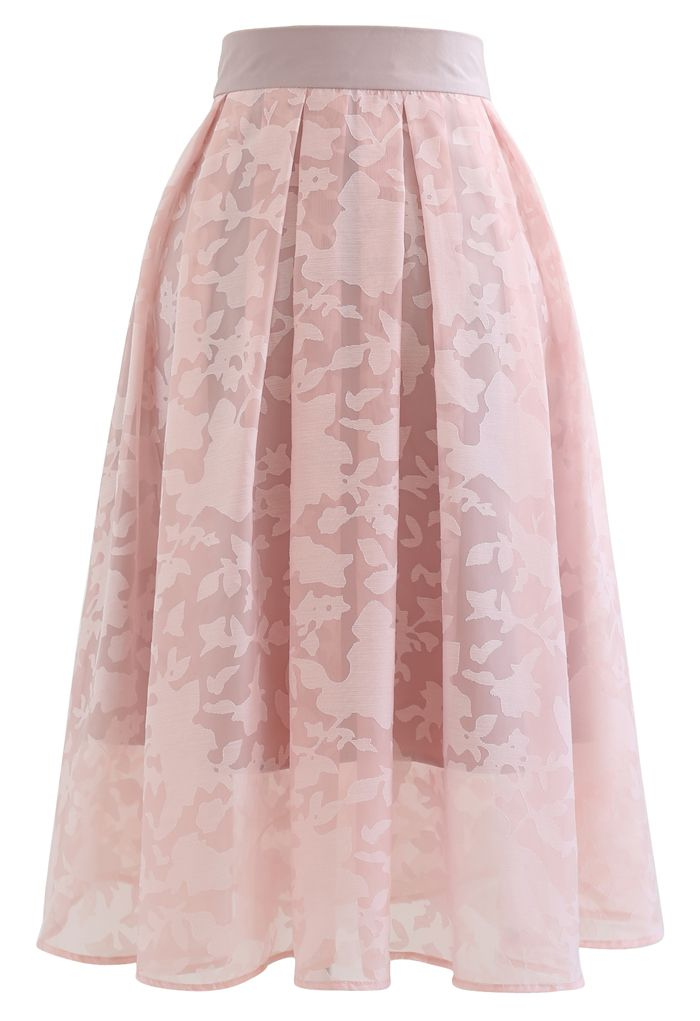 フラワーオーガンジースカート ピンク