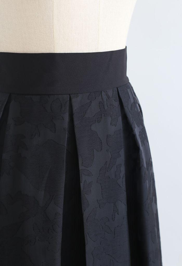 フラワーオーガンジースカート ブラック