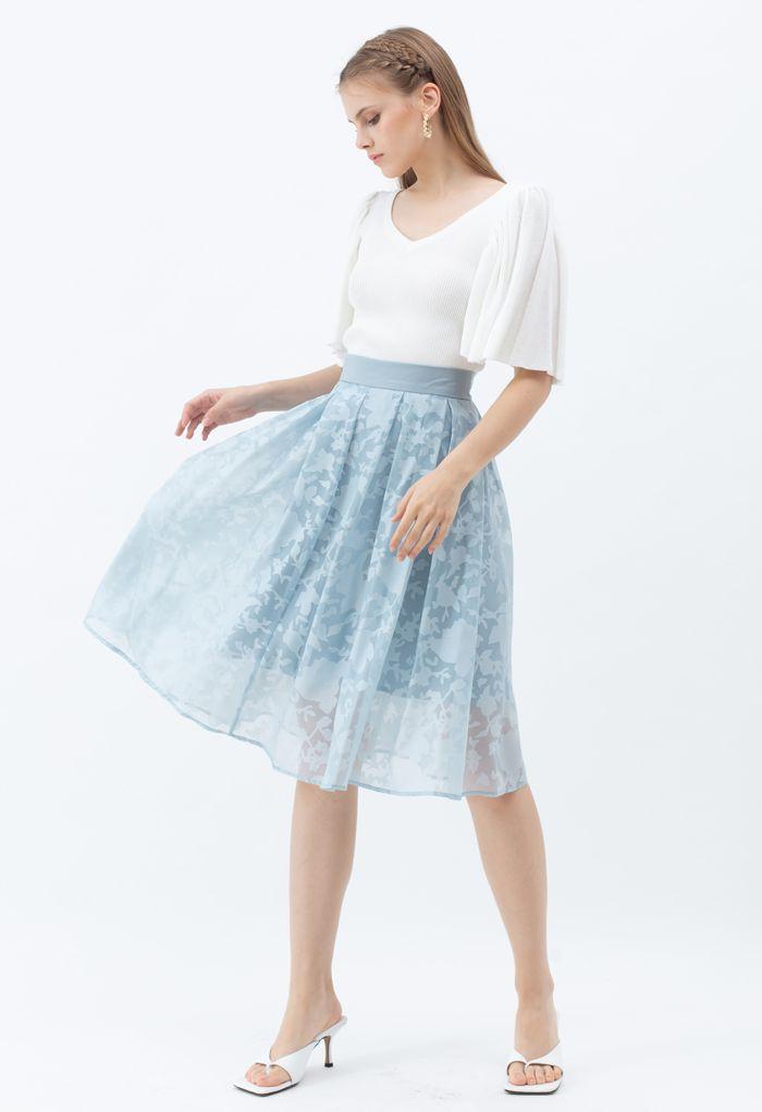 フラワーオーガンジースカート ブルー