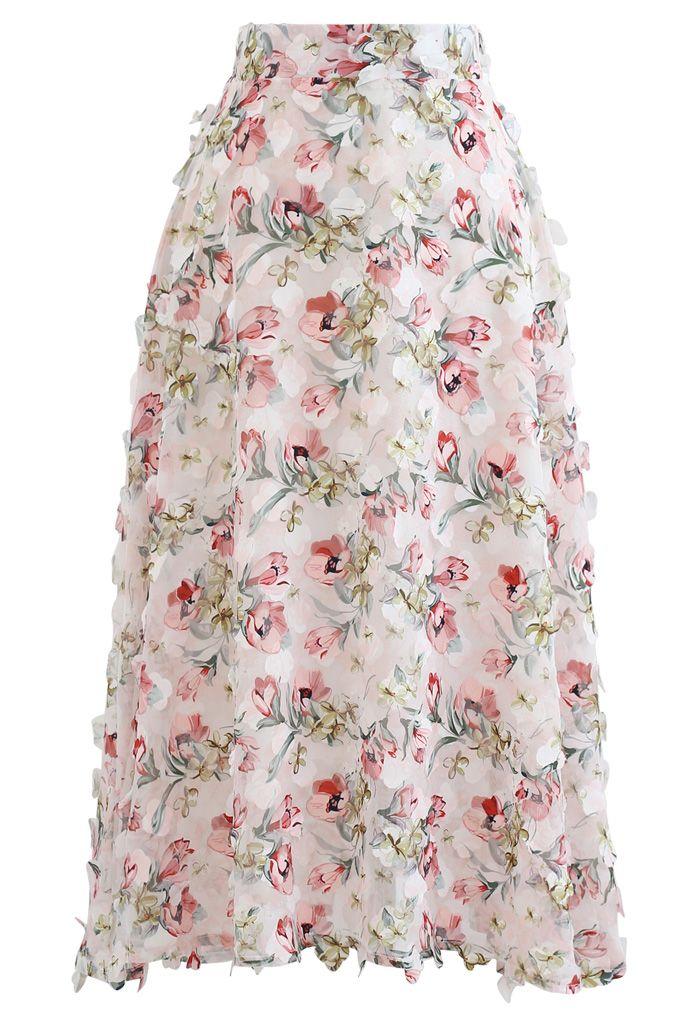花モチーフフレアチュールスカート