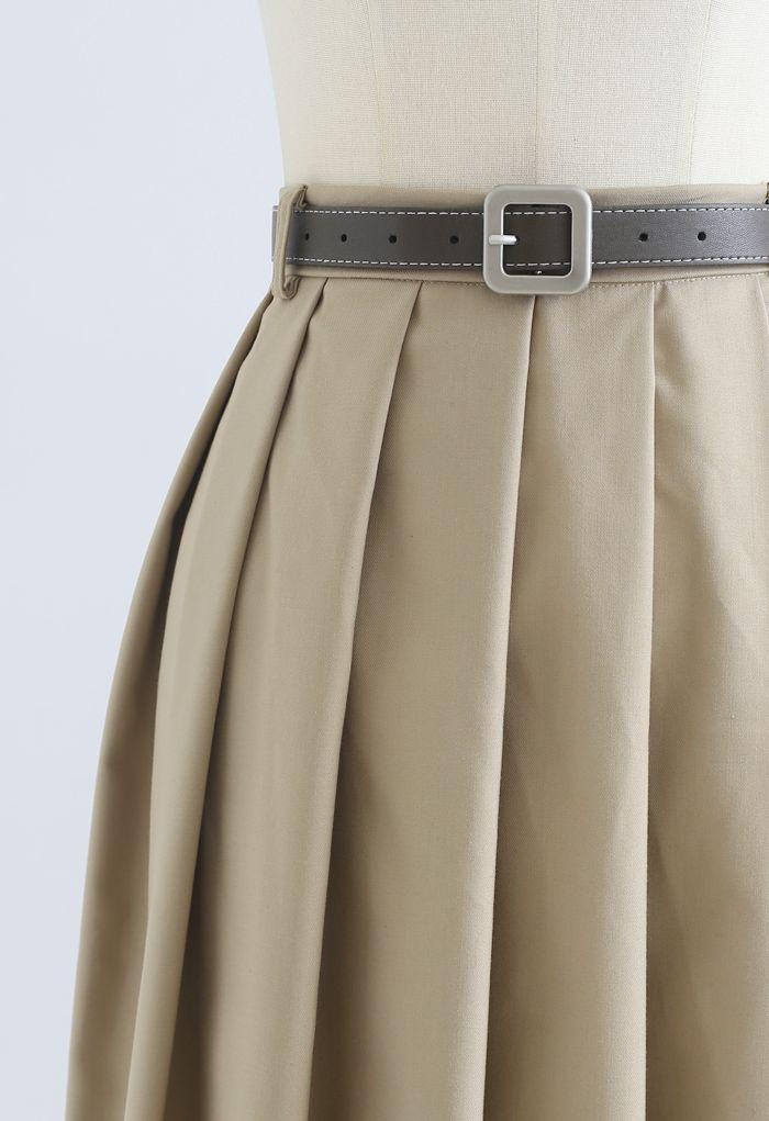 ベルト付きクラシックプリーツスカート ベージュ