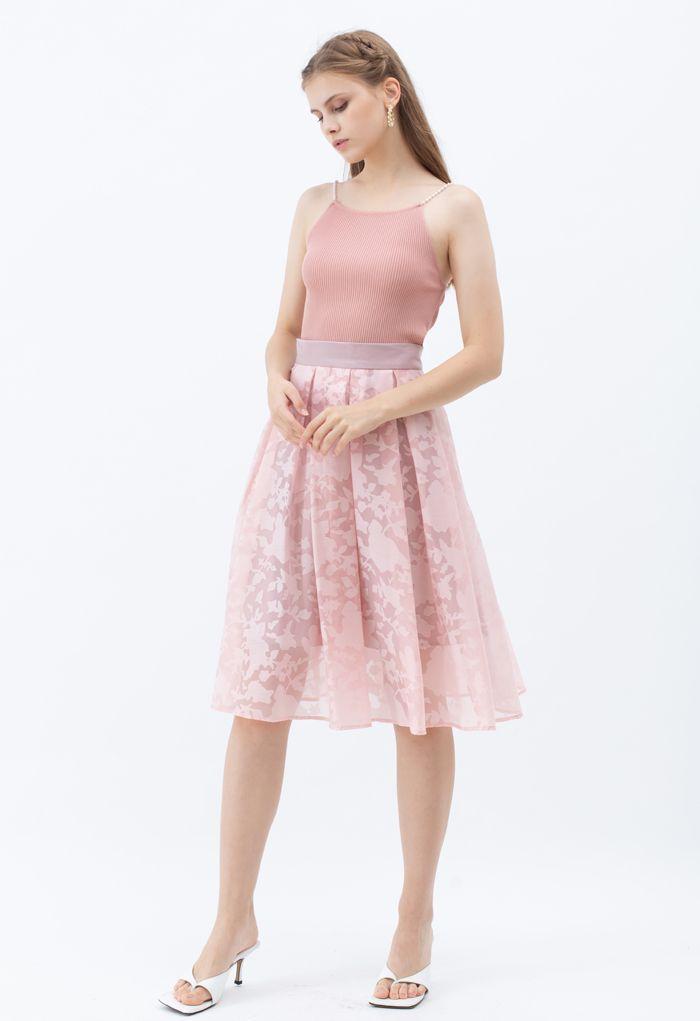 パールストラップキャミトップス ピンク