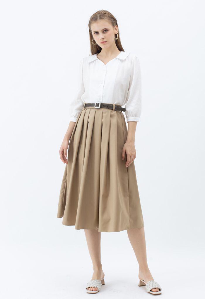 7分袖Vネックシャツ ホワイト
