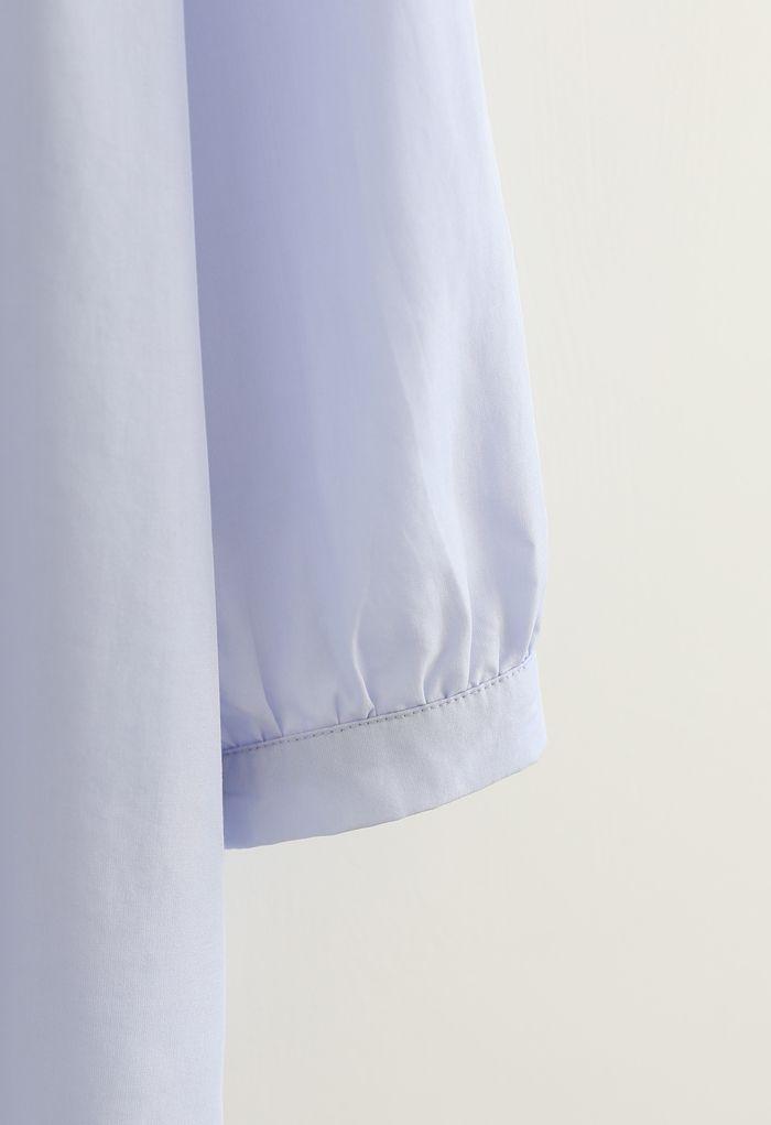7分袖Vネックシャツ ブルー