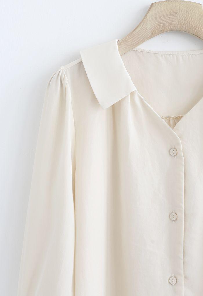 7分袖Vネックシャツ ベージュ