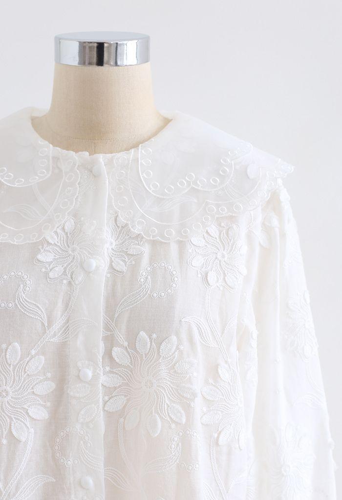 オーガンジーネック刺繍シャツトップス ホワイト