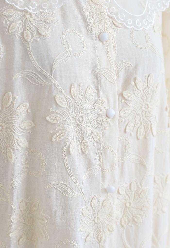 オーガンジーネック刺繍シャツトップス アイボリー