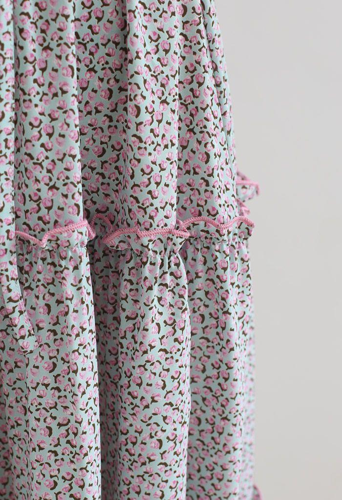 小花柄ラッフルシャーリングワンピース ピンク