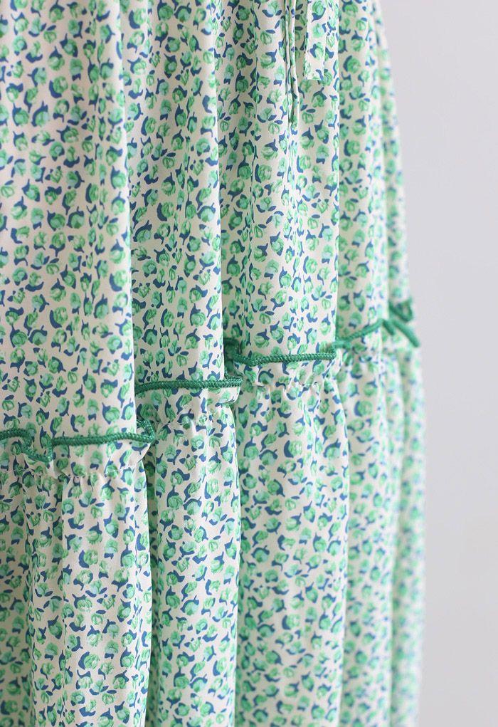 小花柄ラッフルシャーリングワンピース グリーン