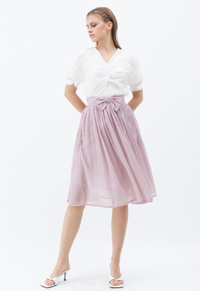 ウエストリボンシフォンプリーツスカート ピンク