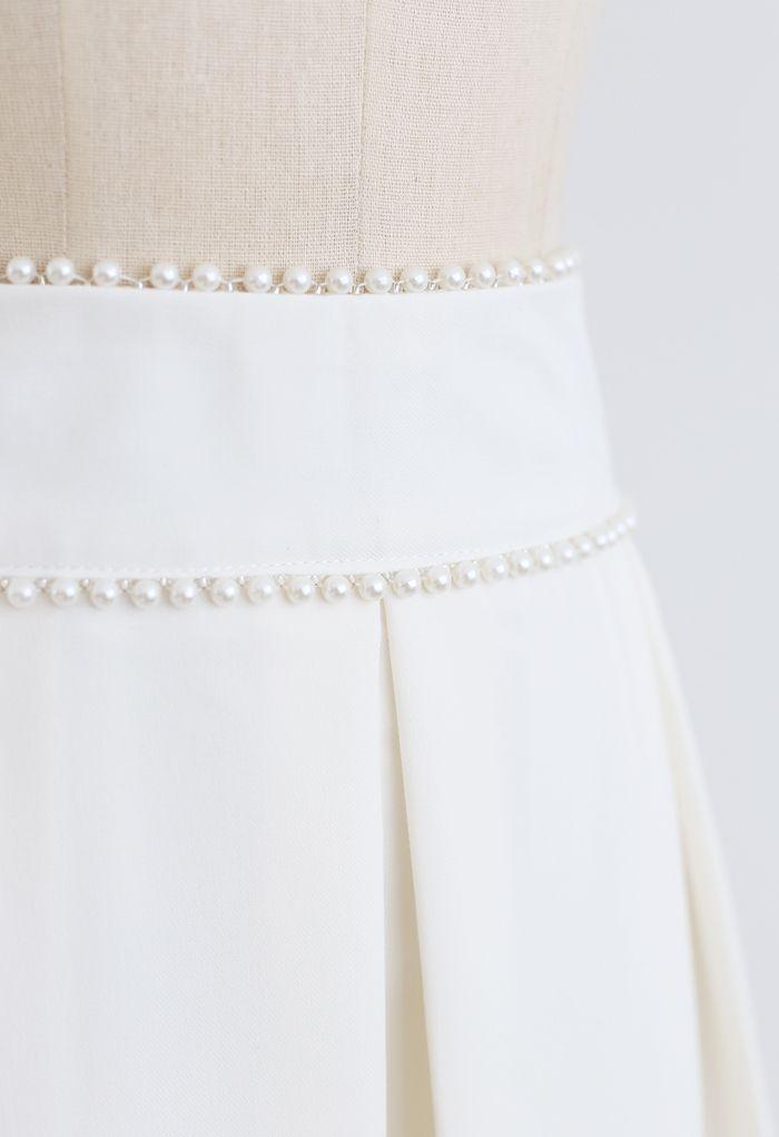 パールウエストプリーツミディスカート ホワイト