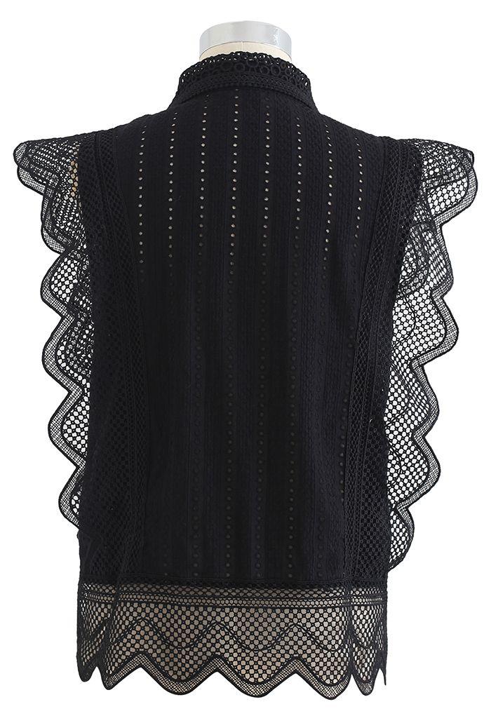 レースアイレット刺繍ノースリーブシャツ ブラック