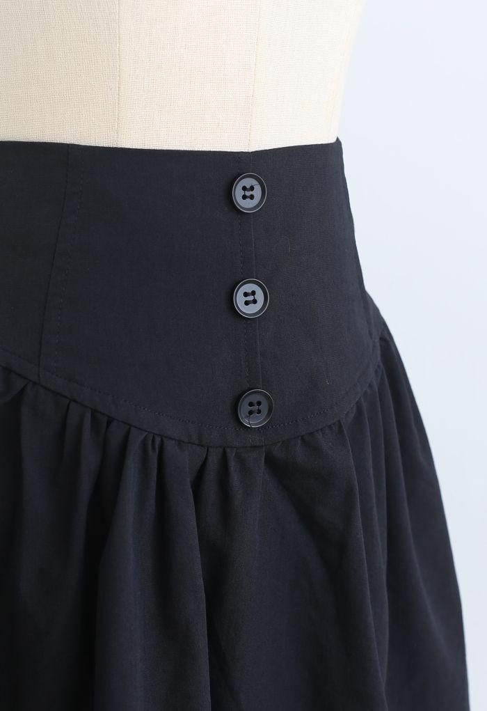 フロントボタンハイウエイミニスカート ブラック