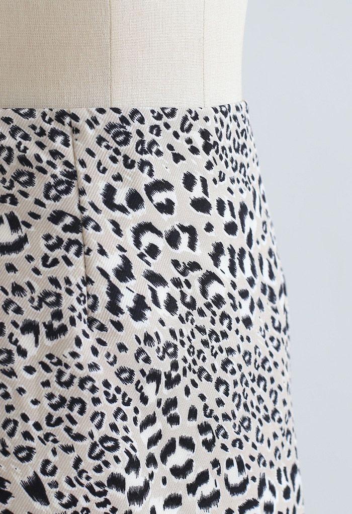 レオパードプリント台形ミニスカート