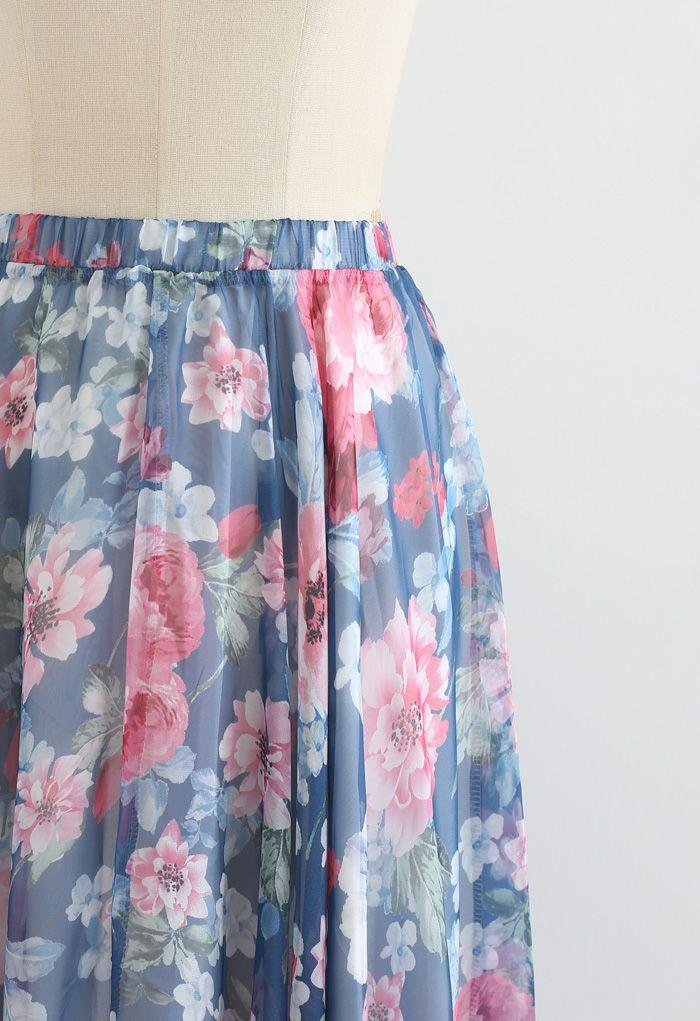 フラワープリントマキシスカート ネイビー