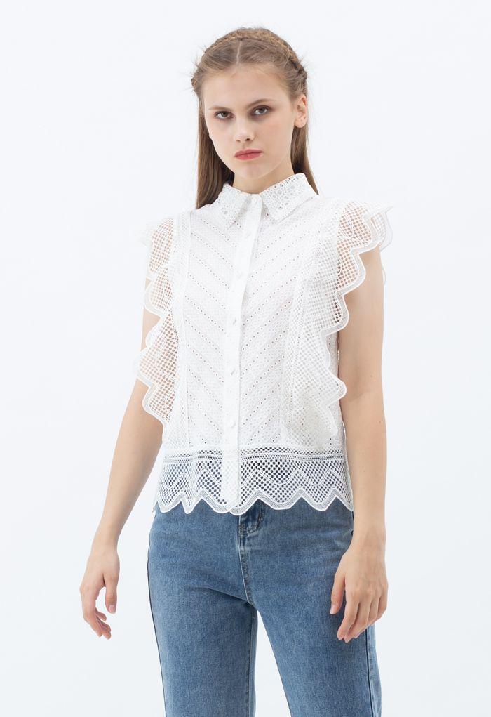 レースアイレット刺繍ノースリーブシャツ ホワイト