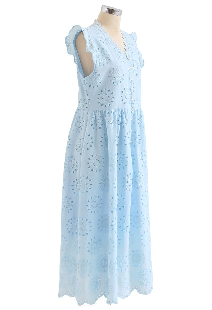 アイレット刺繍フリルノースリーブワンピース ブルー