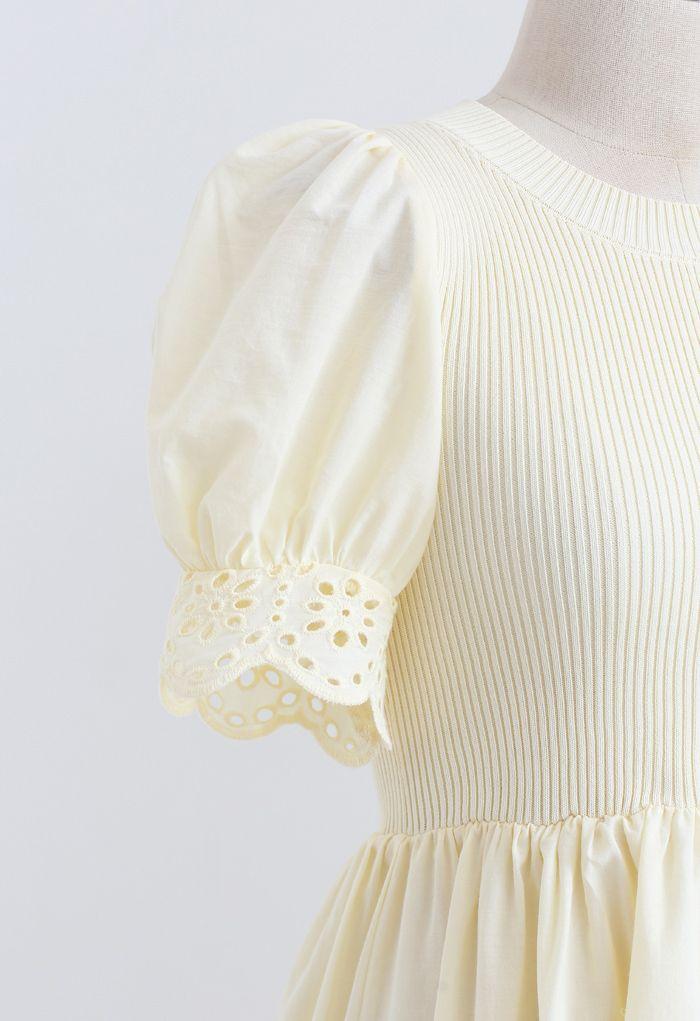 アイレット刺繍パフスリニットワンピース ライトイエロー
