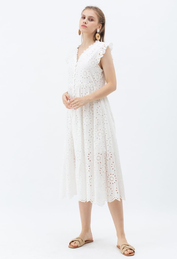 アイレット刺繍フリルノースリーブワンピース ホワイト