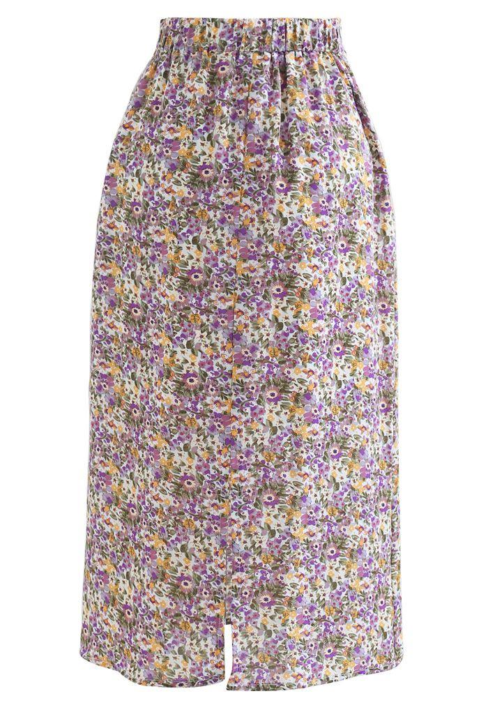小花柄シフォンタイトスカート パープル