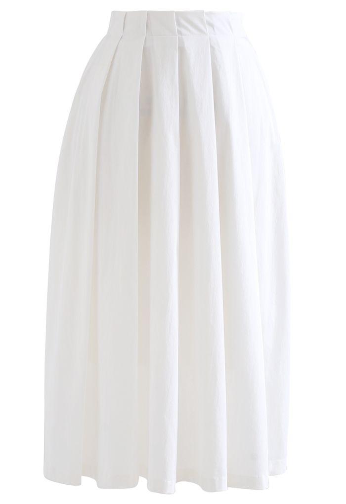 ミモレ丈コットンプリーツスカート ホワイト