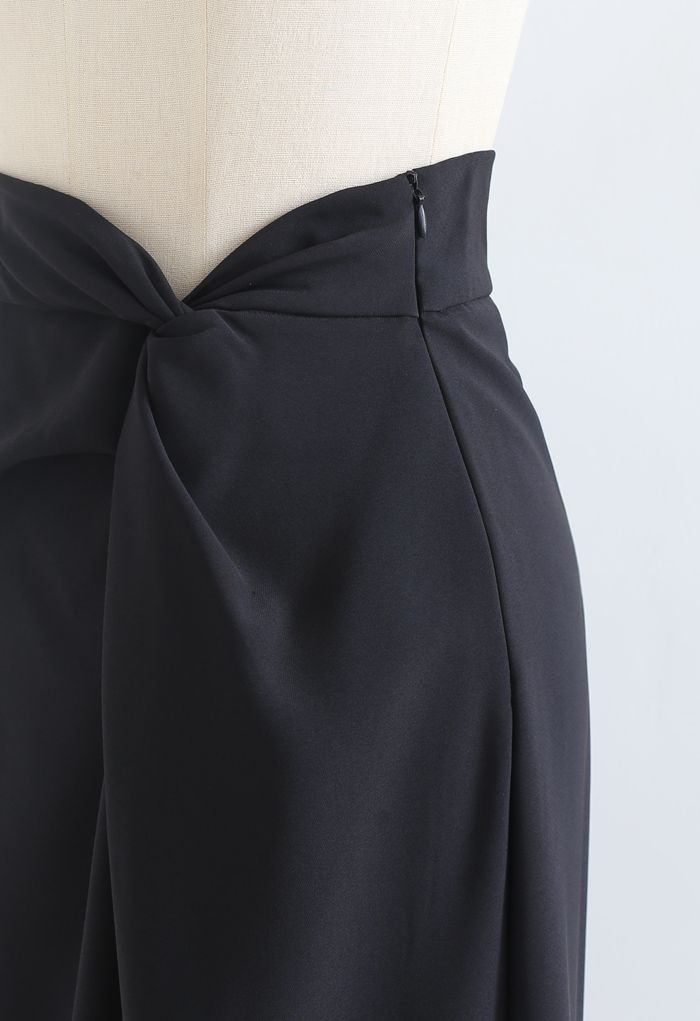 ツイストウエストスリットタイトスカート ブラック