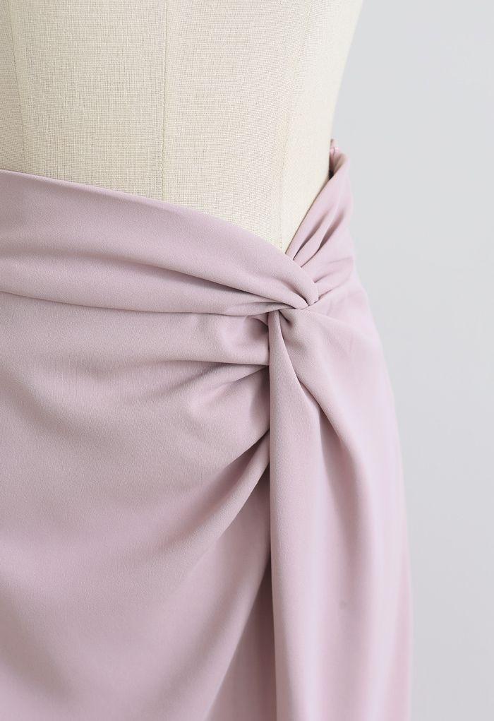 ツイストウエストスリットタイトスカート ピンク