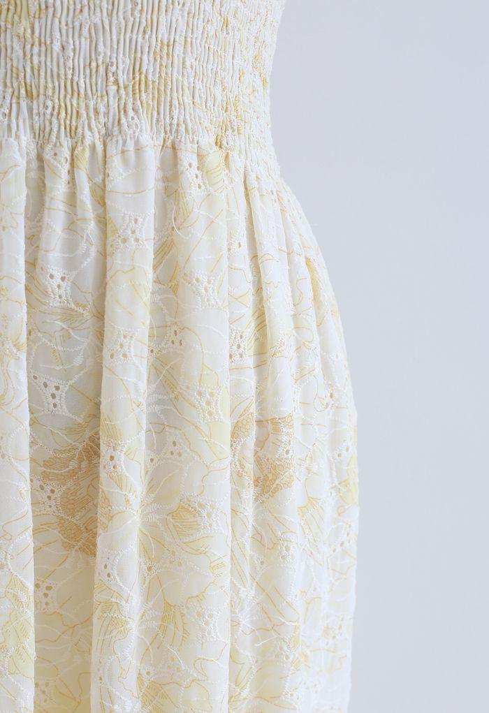 刺繍シャーリングキャミワンピース イエロー