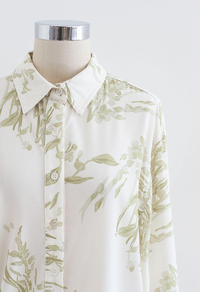 フラワープリントロングシャツ モスグリーン