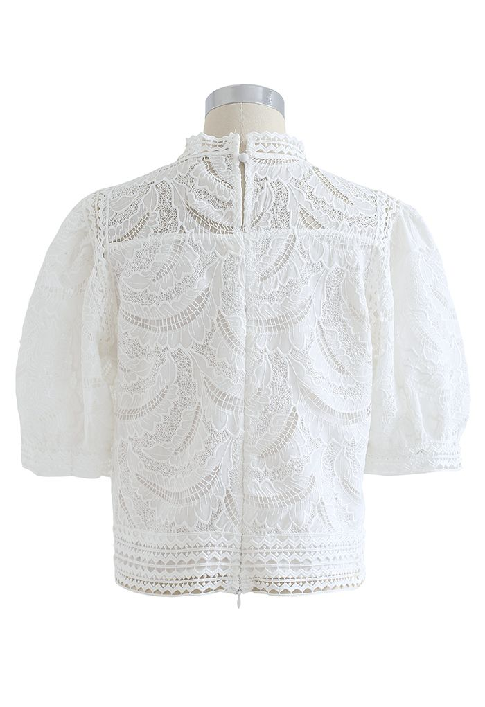 リーフ刺繍クロッシェトップス ホワイト