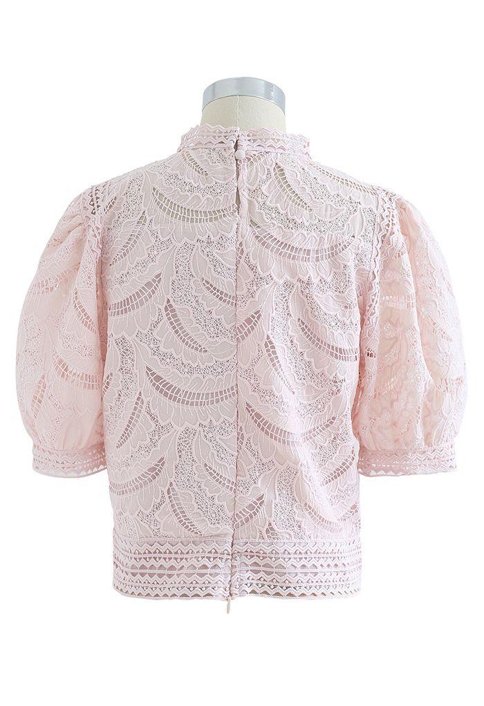 リーフ刺繍クロッシェトップス ピンク