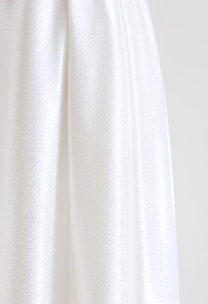 ベルト付きテクスチャーフレアマキシスカート ホワイト
