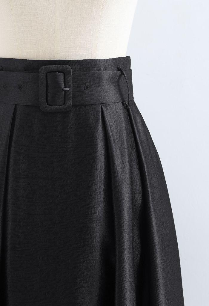ベルト付きテクスチャーフレアマキシスカート ブラック