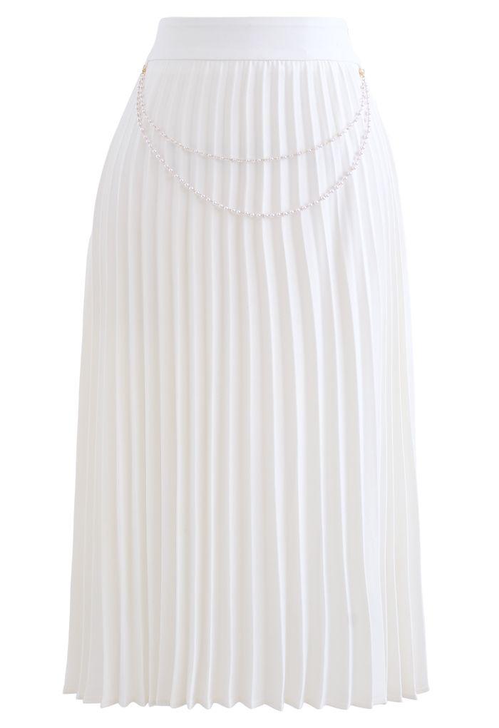 パールチェーンプリーツミディスカート ホワイト