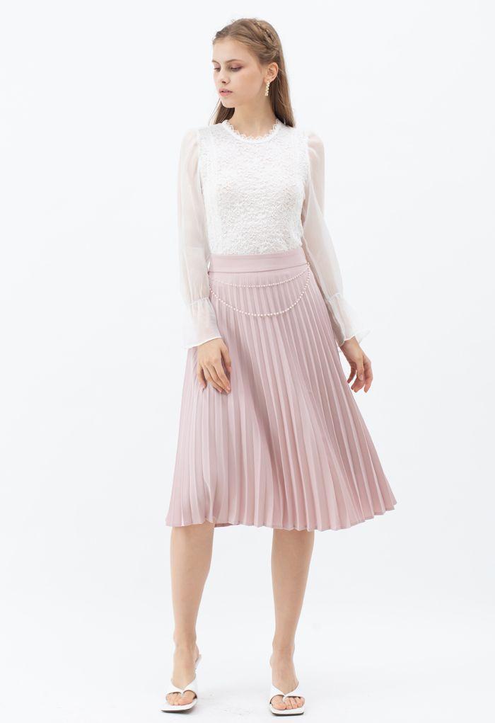 パールチェーンプリーツミディスカート ピンク