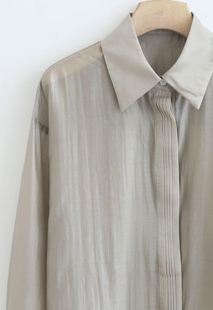 ピンタックルースシャツ セージグリーン
