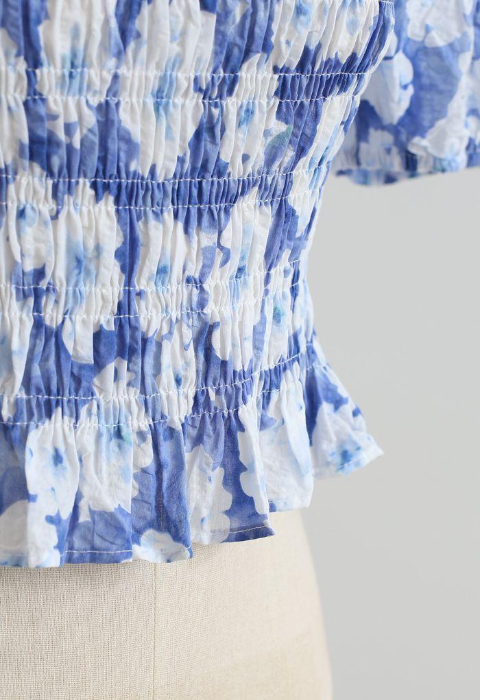 花柄シャーリングトップス ブルー