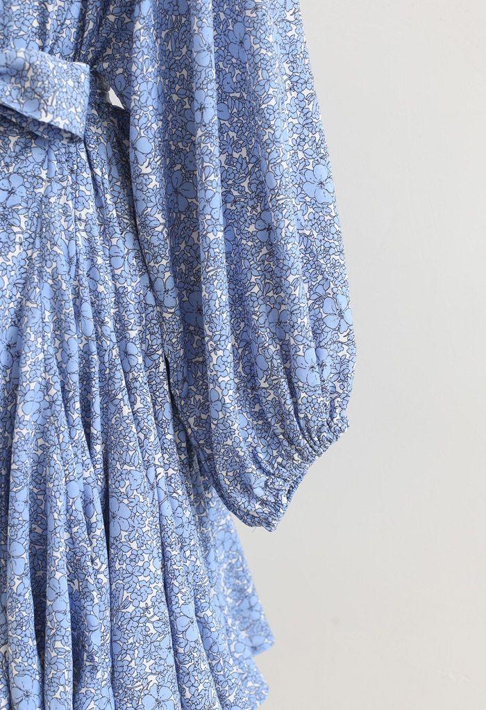 ボリュームスリーブ小花柄フレアワンピース ブルー