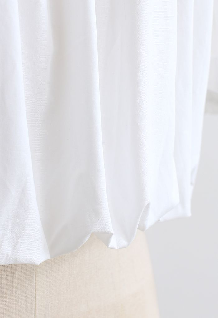 バブルスリーブオフショルトップス ホワイト