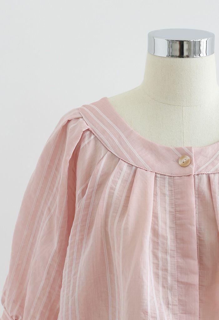 レースアップストライプシャツ ピンク