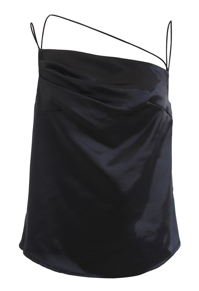 アシンメストラップサテンキャミ ブラック