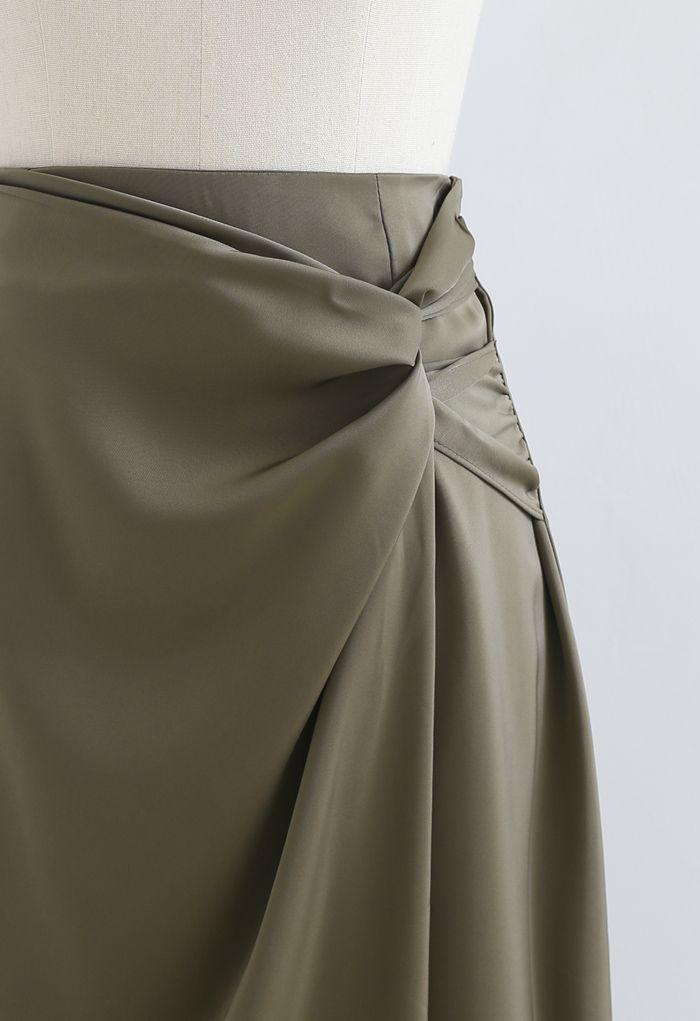 ツイストラップアシンメサテンスカート オリーブ