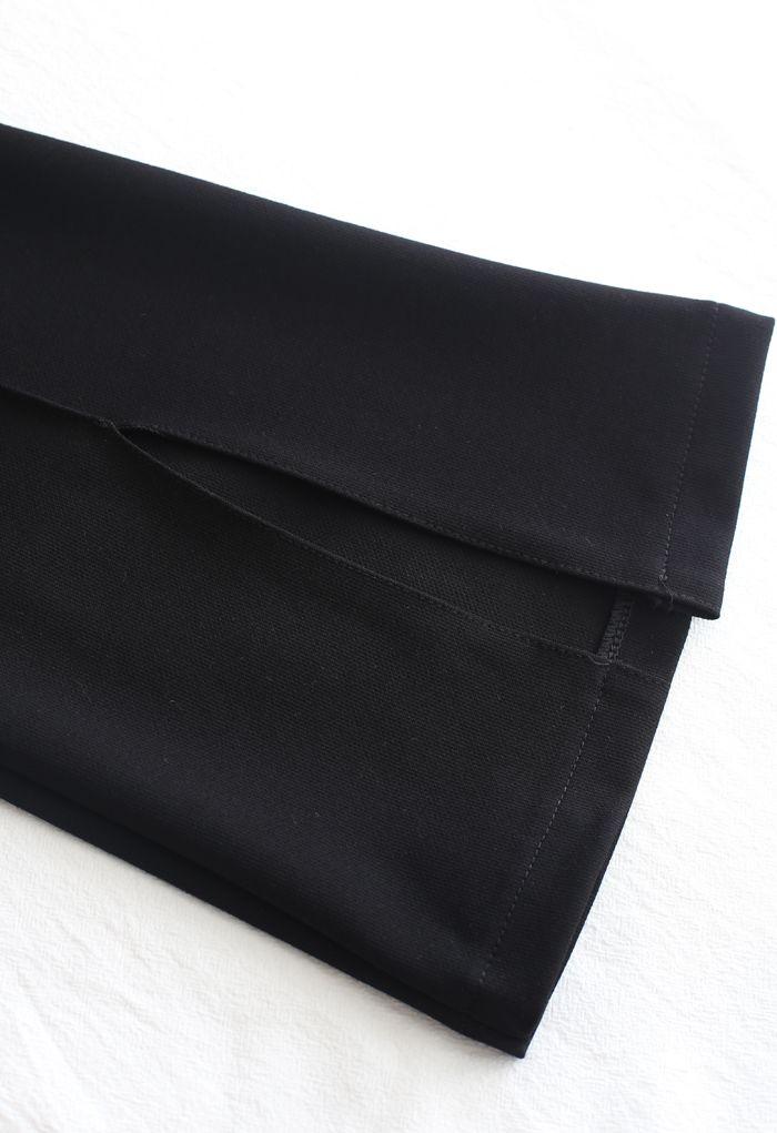 エンボスワイドパンツ ブラック