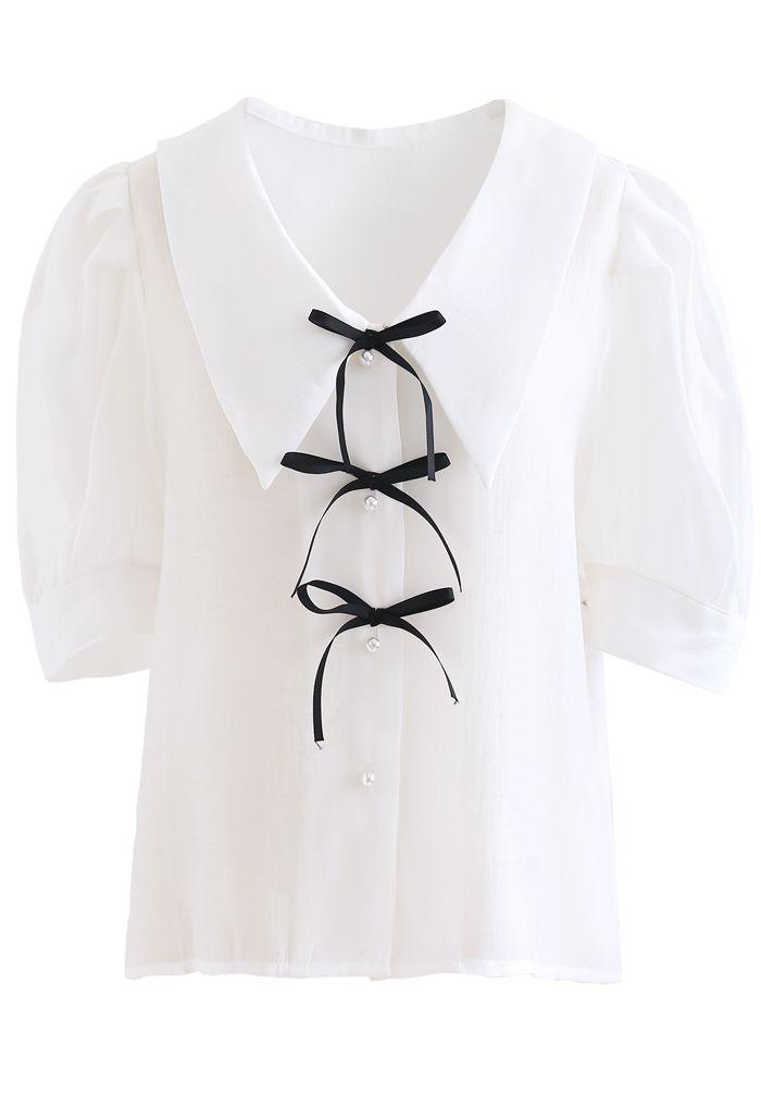 リボン付きパフスリシャツ ホワイト
