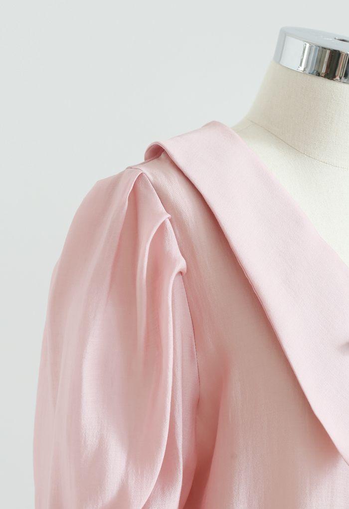 リボン付きパフスリシャツ ピンク