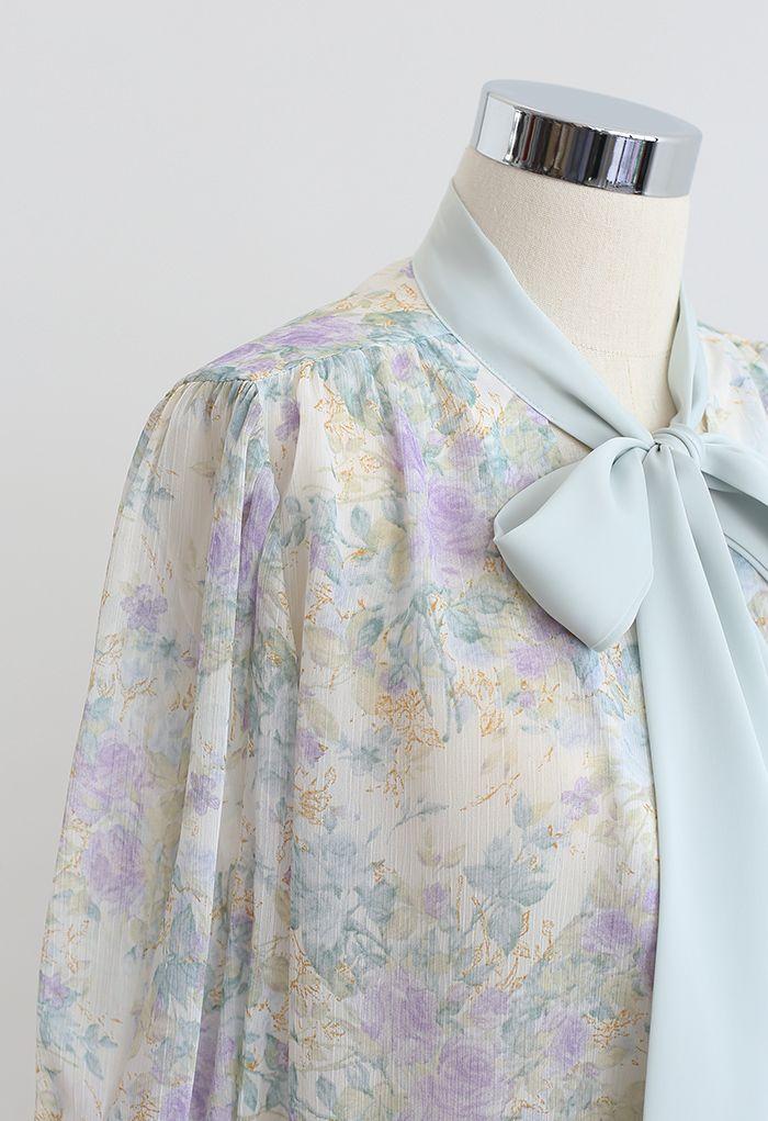 ボウタイ花柄シアーシャツ ミント