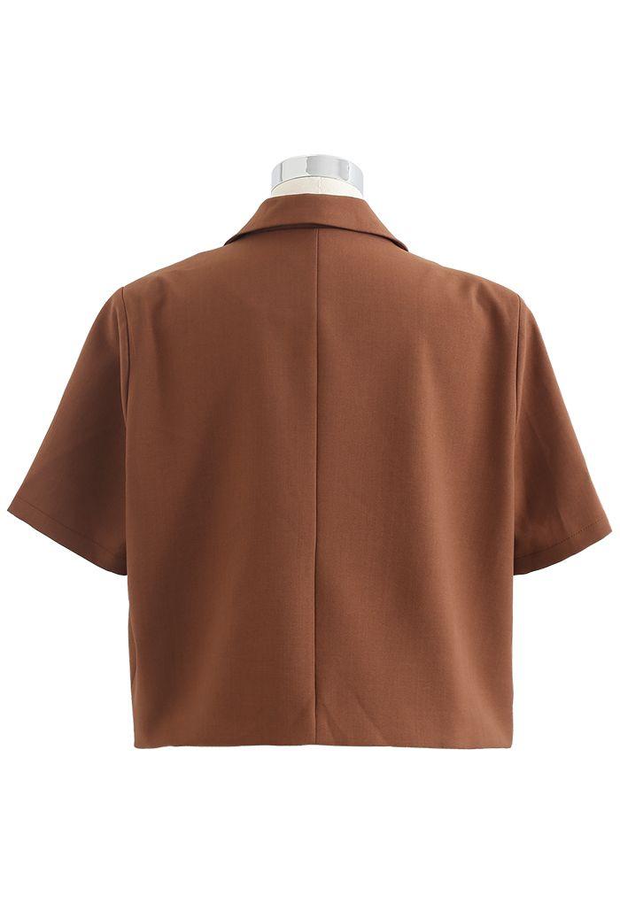 肩パッド入りショートジャケット カラメル