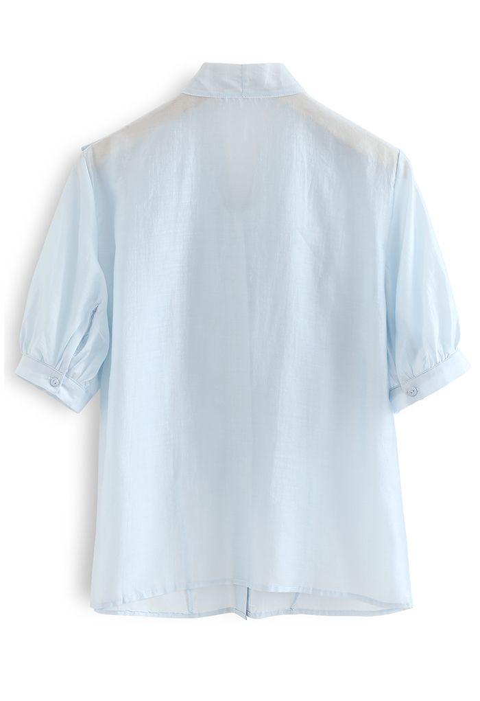ボウタイラッフルシャツトップス ブルー
